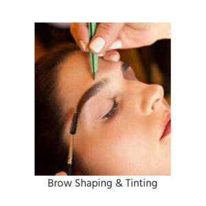 Photograph of woman getting eyebrows shaped in Boston
