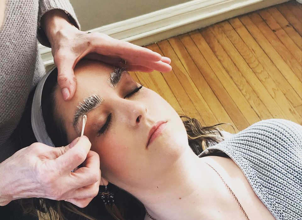 Photograph of brow tinting at Katrina Hess Studio in Boston