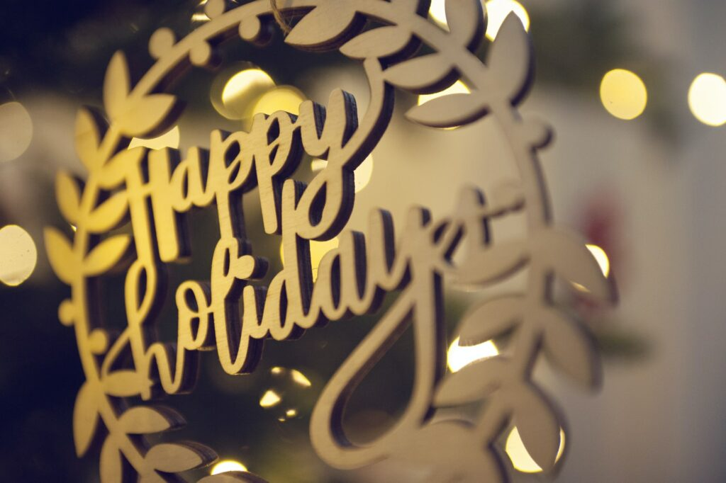 Photograph of happy holidays ornament