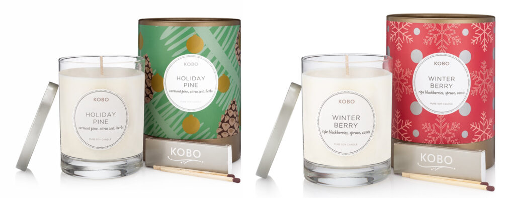 Photograph of Kobo Holiday Pine and Winter Berry Candles